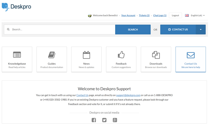 Helpdesk software user portal